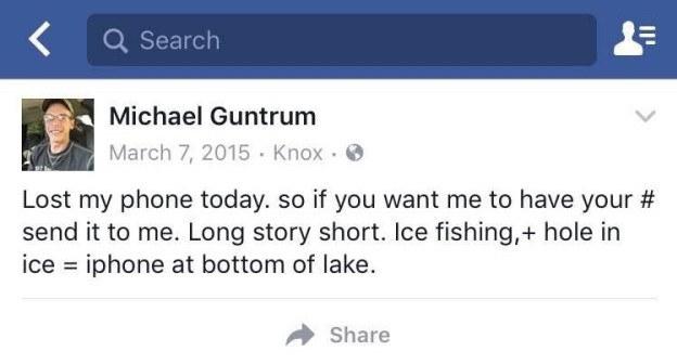 Michael Guntrum post after drop iPhone 4 in the lake