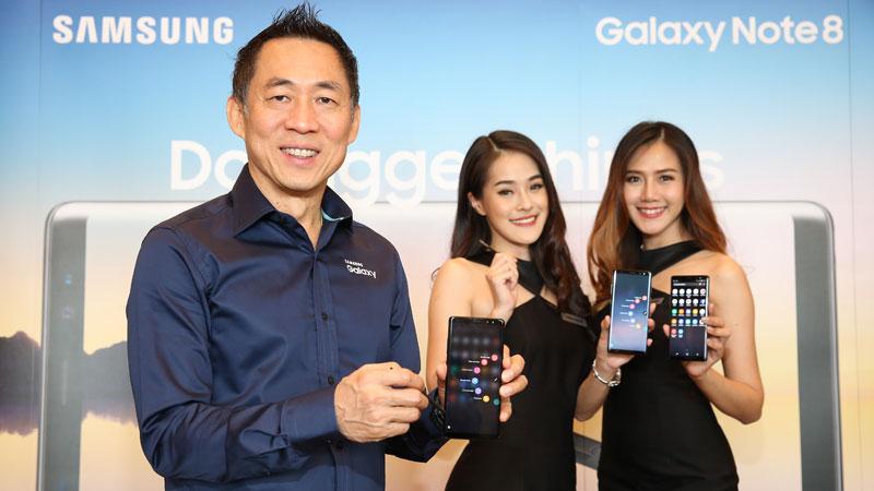 นายวิชัย พรพระตั้ง รองประธานองค์กร ธุรกิจโทรคมนาคมและไอที บริษัท ไทยซัมซุง อิเลคโทรนิคส์ จำกัด เปิดตัว Samsung Galaxy Note 8