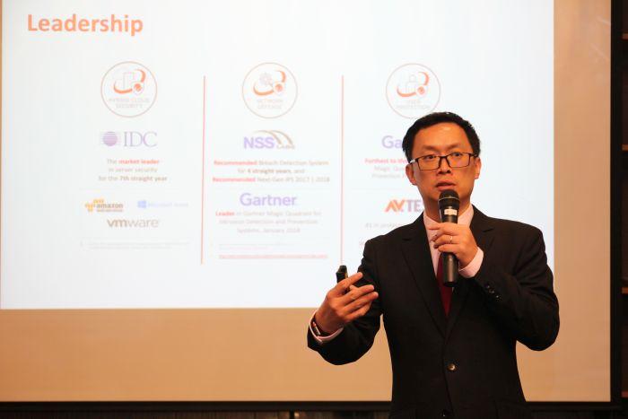 คุณ Andrew Ong, Senior Regional Sales Manager, Trend Micro แนะนำผลิตภัณฑ์ใหม่ในกลุ่ม TippingPoint TX Series พร้อมเทคโนโลยีการป้องกันขั้นสูง